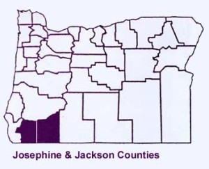 Jackson and Josiphine Counties higllighed on a Map of OregonWith